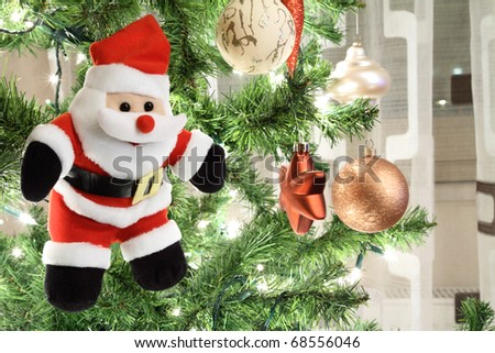 Santa Claus puppet on Christmas tree