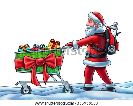 Santa Claus Pushing a Shopping Cart - Digital Painting. On white background.