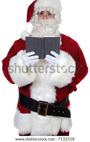 Santa Claus reading a book over white background