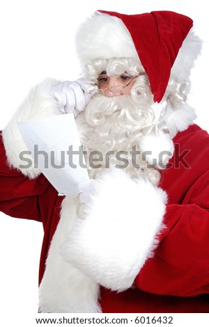 Santa Claus reading a letter of a boy a over white background