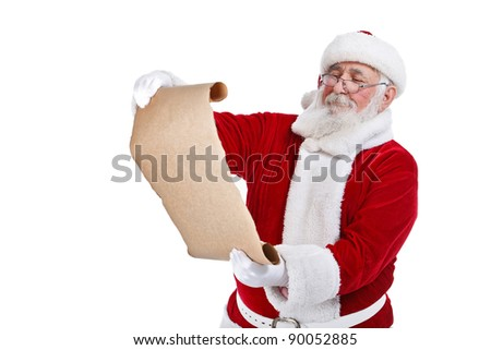 Santa Claus reading gift list, isolated on white background - stock photo