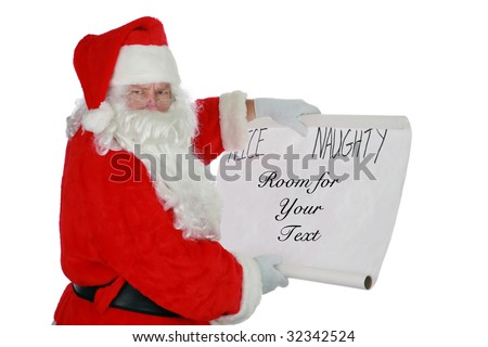 Santa Claus reads from his list with room for your text isolated on white