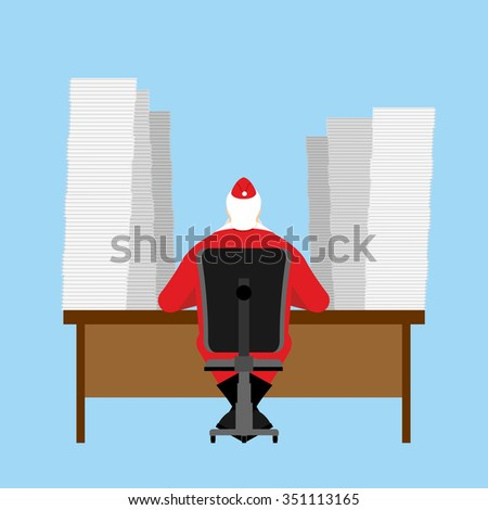 Santa Claus reads letter. Many  incoming correspondence from children. Big Pile of letters are on table. Christmas jobs before feast. - stock photo