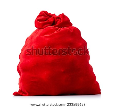 Santa Claus red bag full, on white background. File contains a path to isolation.  - stock photo