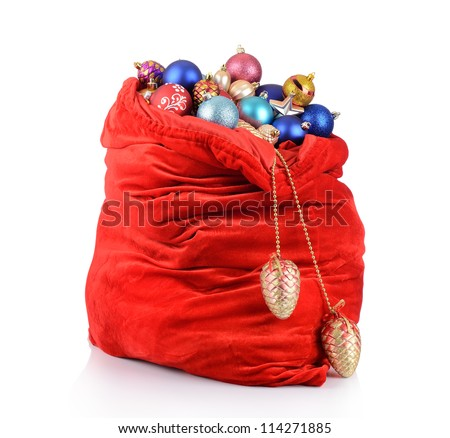 Santa Claus red bag with Christmas toys on white background. File contains a path to isolation - stock photo
