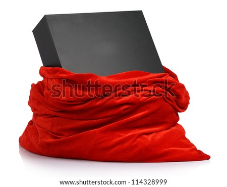 Santa Claus red bag with gift black box on white background. File contains a path to isolation.