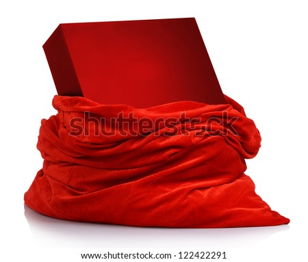 Santa Claus red bag with red box with a gift on white background. File contains a path to isolation