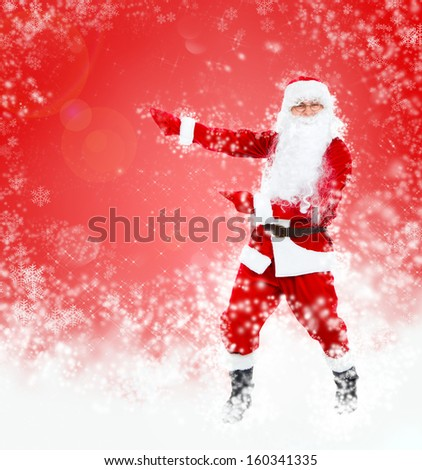Santa Claus red christmas background, point finger glove empty copy space, concept new year sale shopping abstract winter snow - stock photo