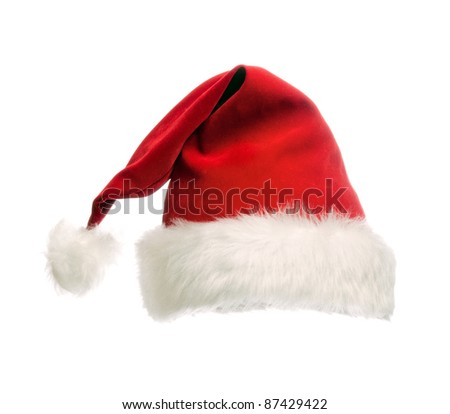Santa claus red hat.  isolated on white - stock photo
