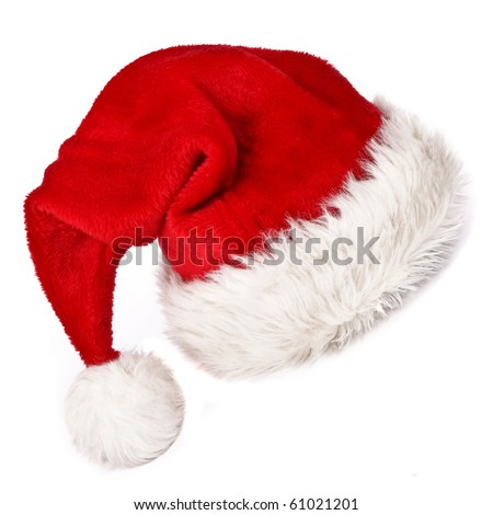 Santa claus red hat on white background. - stock photo