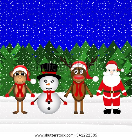 Santa Claus, reindeer and snowman monkey in the forest Christmas - stock photo