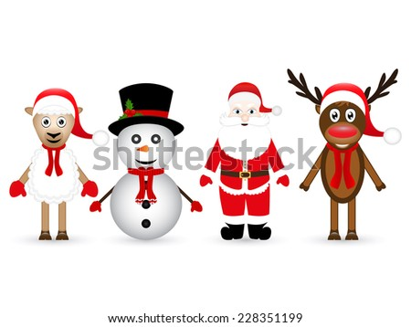 Santa Claus, reindeer, snowman and sheep