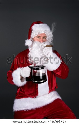 Santa Claus relaxes by smoking a fat cigar and drinking a pot of hot coffee after a long night of delivering presents.