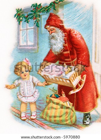 Santa Claus remembers little girl - a 1917 vintage illustration