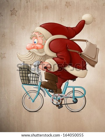 Santa Claus rides a bicycle to delivery the gifts - stock photo