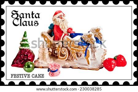 Santa Claus rides on horseback.Festive cake.Merry Christmas.Happy New Year!Postage stamps.Image on white background. - stock photo