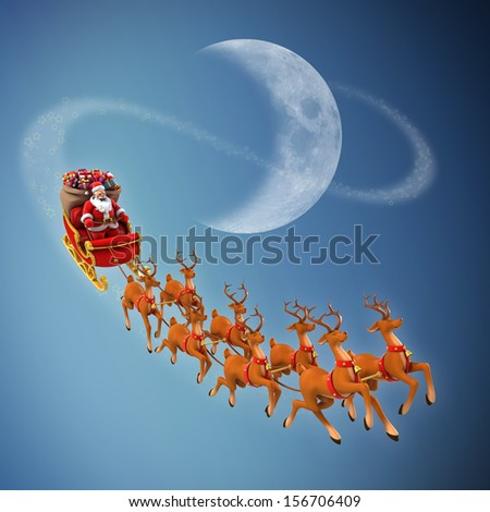 Santa Claus rides reindeer sleigh on Christmas - stock photo