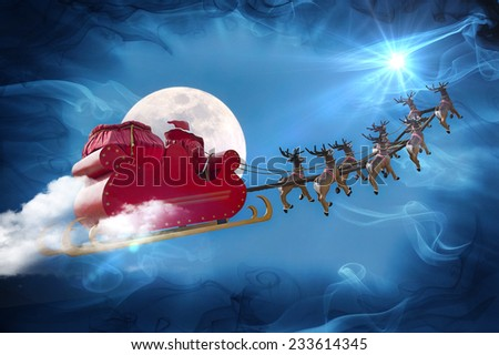 Santa Claus riding a sleigh led by reindeers following the star  - stock photo