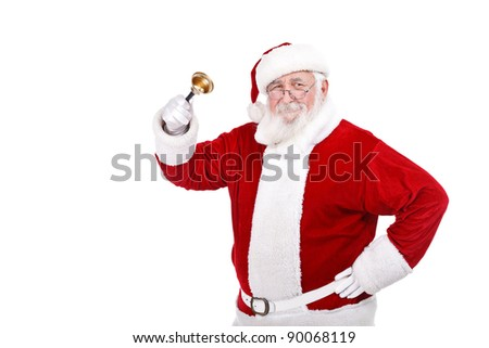 Santa Claus ringing a bell,  it's Christmas time, isolated on white background - stock photo