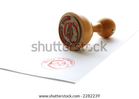 Santa Claus rubber stamp - stock photo