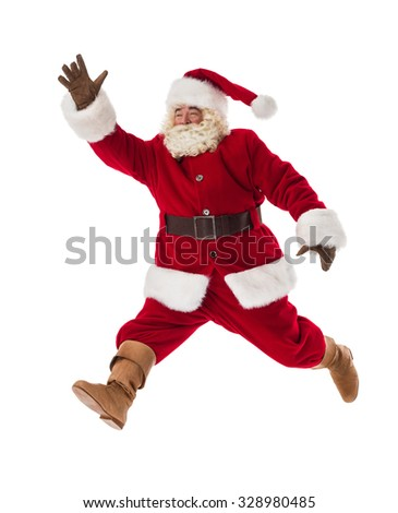 Santa Claus running fast and gesturing with his hand Full-Length Portrait - stock photo