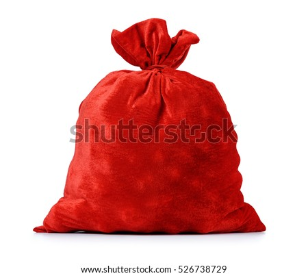 Santa Claus's red bag, full, on white background. File contains clipping path