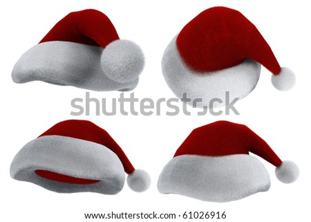 Santa Claus's red hat isolated on white. 3d render - stock photo
