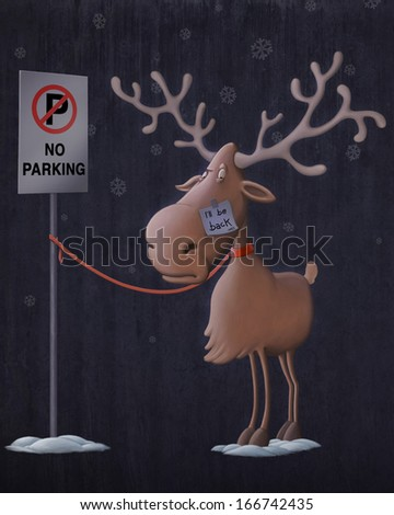 Santa Claus's reindeers in no parking area illustration - stock photo