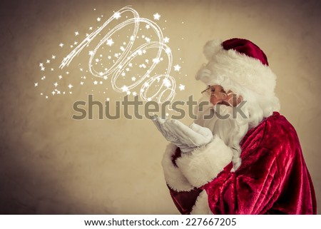 Santa Claus senior man against grunge background. Xmas holiday concept - stock photo