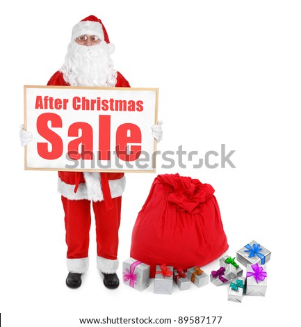 Santa claus showing bulletin board with After Christmas Sale inscription - stock photo