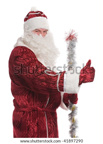 Santa Claus showing ok, isolated on white