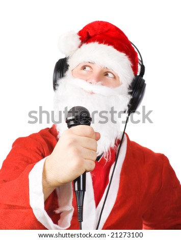 Santa Claus singing a song. Isolated on white. - stock photo