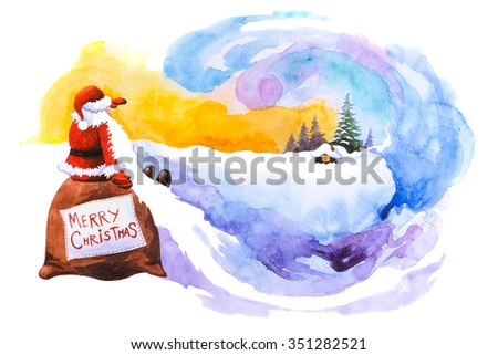 Santa Claus sitting on a bag and looking into the horizon. Christmas background - stock photo