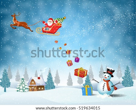 Santa Claus sleigh fly over the forest, house, snowman and throws gifts . Christmas card, invitation, background, design template. illustration Raster version