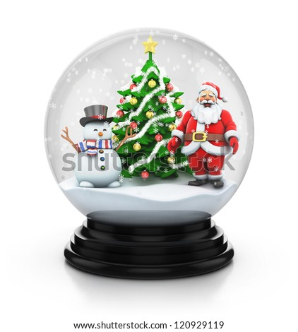 Santa Claus Snowman and Christmas tree inside snow globe - stock photo