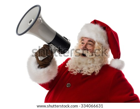 Santa Claus speaking in megaphone Closeup Portrait. Isolated on White Background - stock photo