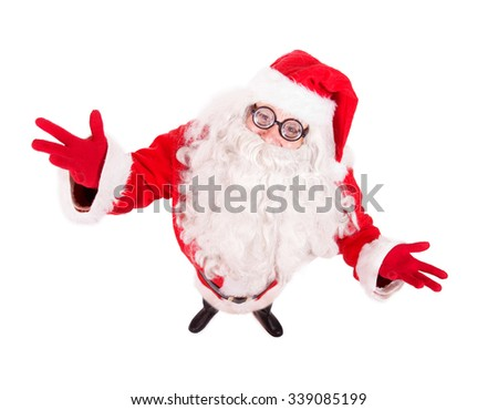 Santa Claus spread his arms wide  and looking up to camera