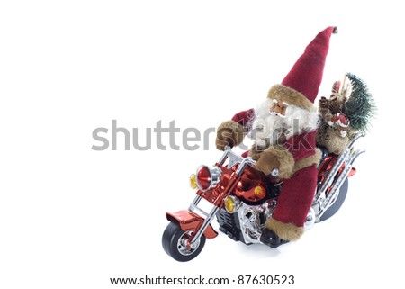 santa claus standing on a motorcycle on a white background - stock photo