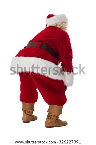 Santa Claus standing tired. Full Length Portrait Isolated on White Background