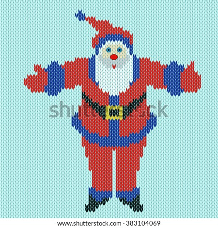 Santa Claus standing with outstretched arms widely on a blue background, knitting pattern - stock photo