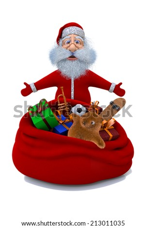 Santa Claus stands near a sack with gifts - stock photo