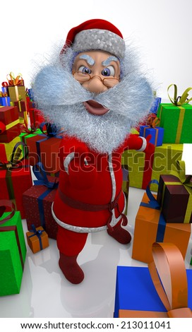 Santa Claus stands round the great number of gifts - stock photo