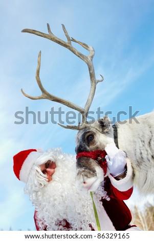 Santa Claus stroking his reindeer - stock photo