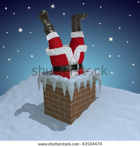 Chimney Santa Stuck Stock Images Royalty Free Images