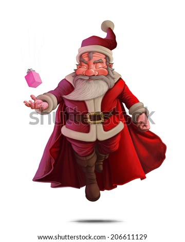Santa Claus super hero with red cape and the gift box - stock photo