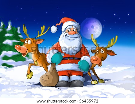 Santa Claus surrounded by his deers - stock photo