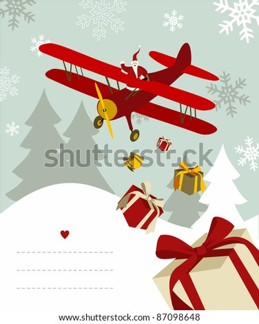 Santa Claus throwing gifts from an airplane with blank lines to write on snowy background. - stock photo