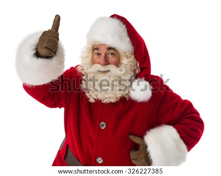 Santa Claus thumbs up. Portrait Isolated on White Background - stock photo