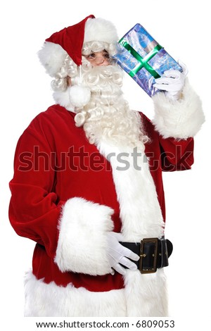 Santa Claus trying to remember over white background
