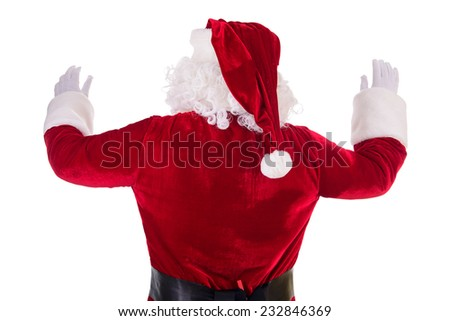 Santa Claus turned back. Isolated on white background - stock photo